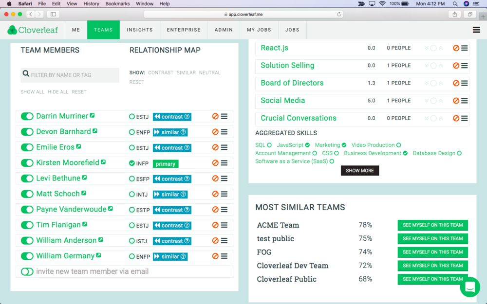 - Scroll down to the relationship map where you can see which team members have similar and contrasting thinking styles. Select the checkbox to the right of a person's name to orient the relationships around that specific team member.