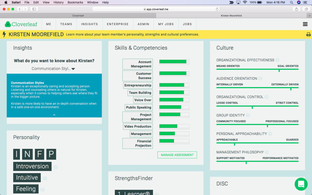 - Click on a person's name to be taken to their insights page where you can view their strengths, personality type, and other assessment results.