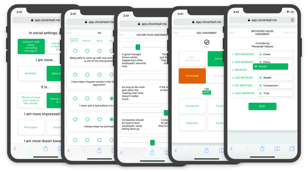 Input what you know. - Use assessments and information you already have, or provide assessments on Cloverleaf. DiSC, StrengthsFinder, Myers-Briggs, VIA, and our own proprietary Culture Pulse Survey are available on the platform.Don't see your assessment? We can add it.
