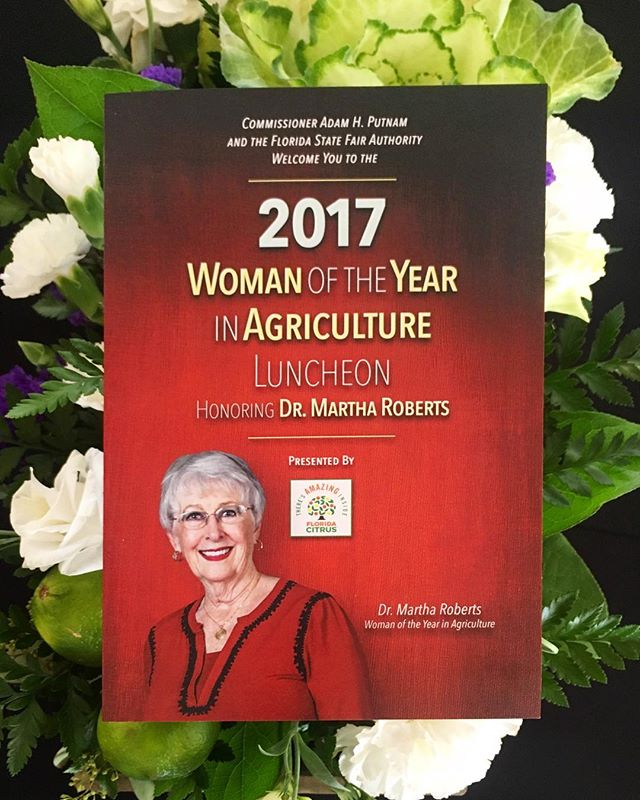 "We spent an incredible Monday morning surrounded by our friends in the Ag community who came together to honor Dr. Roberts for an equally groundbreaking and successful career. The Woman of the Year in Agriculture award is given to women who have made outstanding contributions to Florida agriculture. Following Adam Putnam's many kind remarks, a stunning video was presented on Dr. Roberts' life, describing her initial temporary job at the Department of Agriculture that led to decades of service to the state of Florida. In 1984, she was appointed Assistant Commissioner of Agriculture, the first woman in the United States to do so. She holds a master's degree in bacteriology, a Doctorate in microbiology, and completed postdoctoral studies in public health. The mind-boggling span of her work and breadth of her accomplishments are the foundations on which we continue to build a stronger Ag industry every day. As Mr. Putnam put it: ""I thought she won years ago!"" Thank you for all that you have, and continue to do for our beautiful state, Dr. Roberts!"