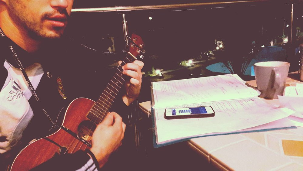 Ukelele out, voice ready, night filled.