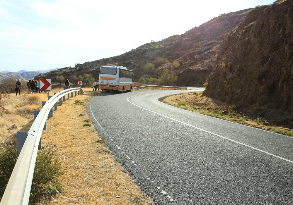 Bus series vol.2  Somewhere just after Kato Pyrgos crossing hearding towards Vouni.