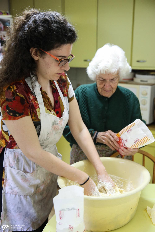 making tsoureki with my grandmother