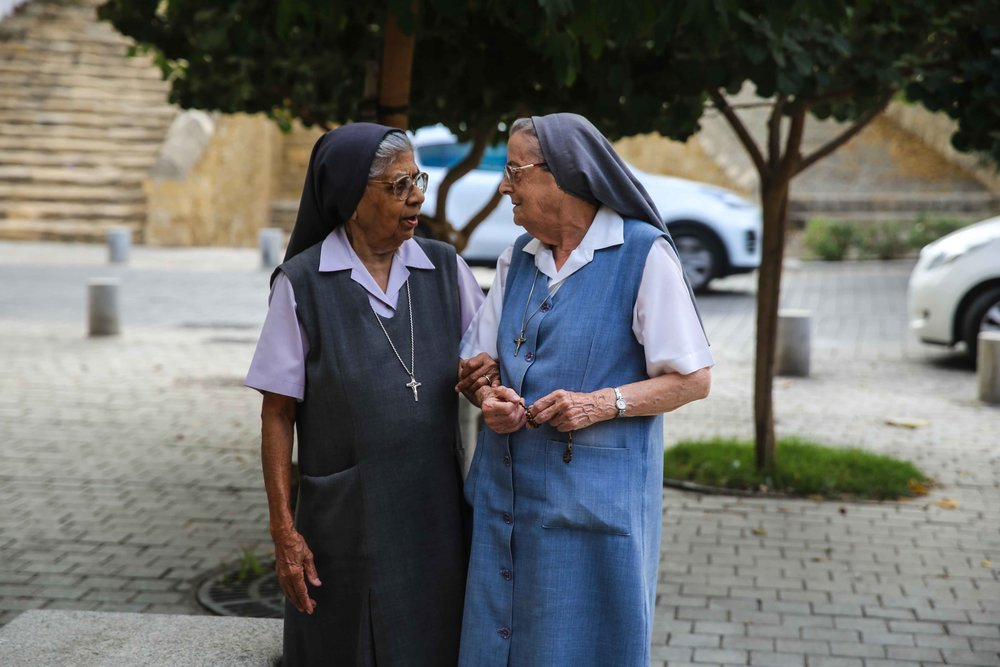 Nuns in Old Nicosia, Cyprus