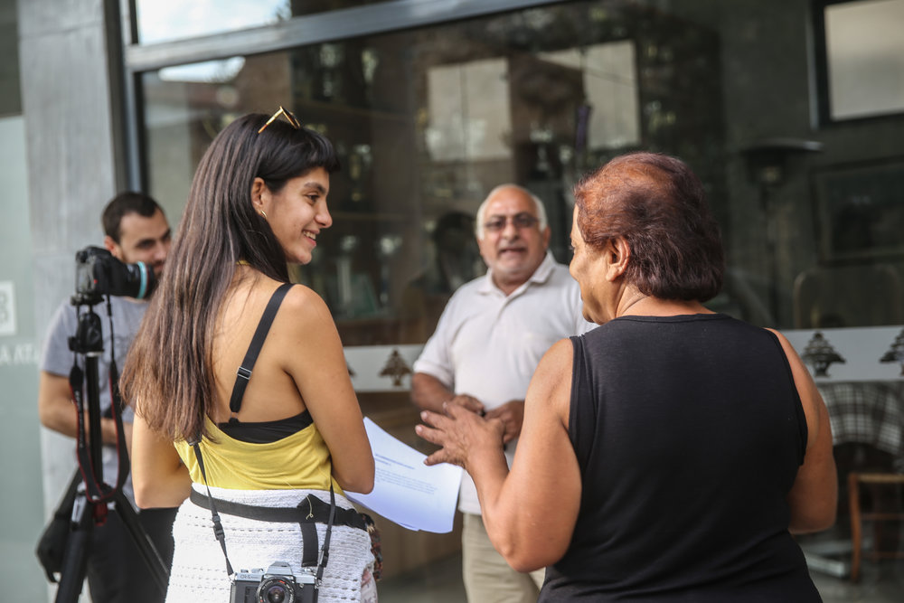 Talking with locals in Nicosia, Cyprus