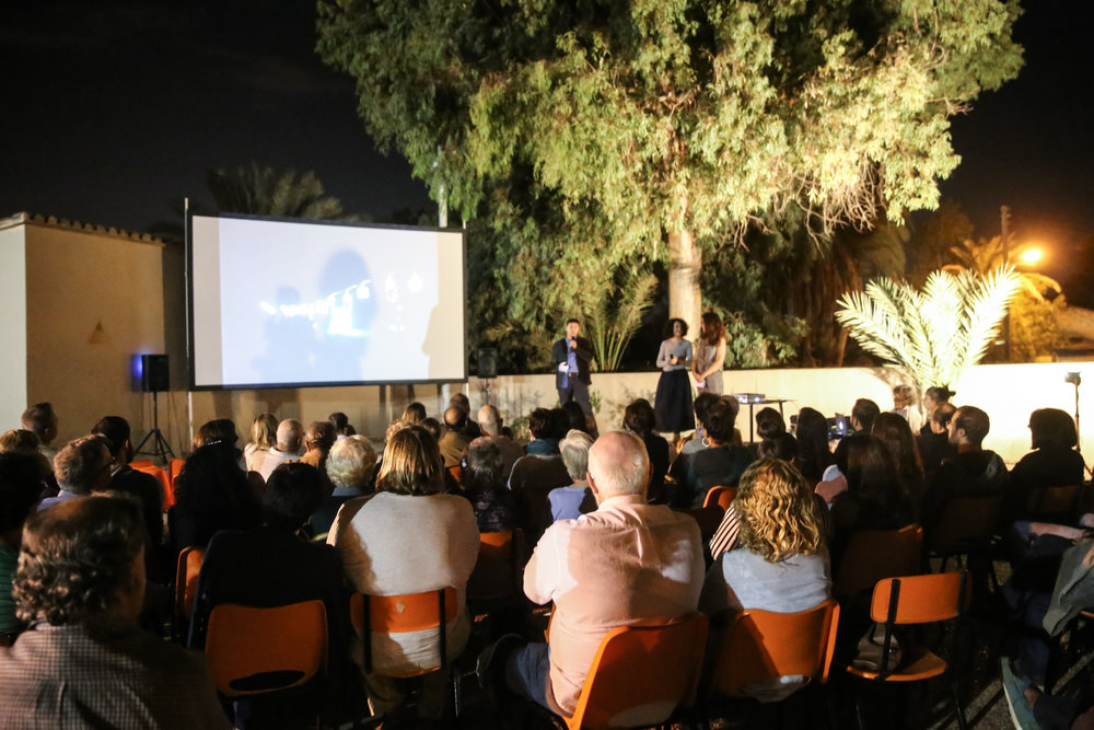 outdoor film screening in Kaimakli, Nicosia, Cyprus
