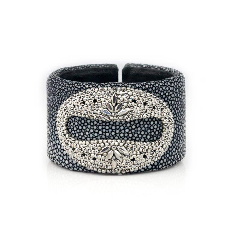 Stingray Leather Rhinestone Cut Steel Cuff