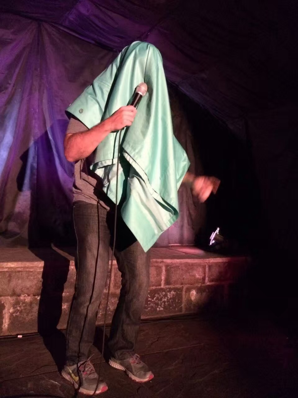 Performing under a blanket - i.e. the Holy Grail of 'opening phase' comedy