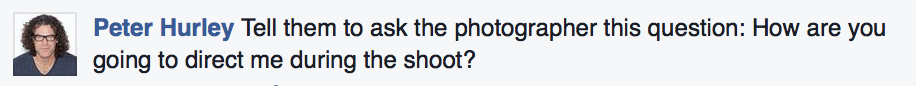 I asked my friends what they would like to be asked and Peter Hurley responded with this  (click to enlarge).