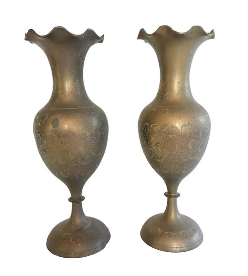 Etched Brass Vases Pair Rara Avis Design