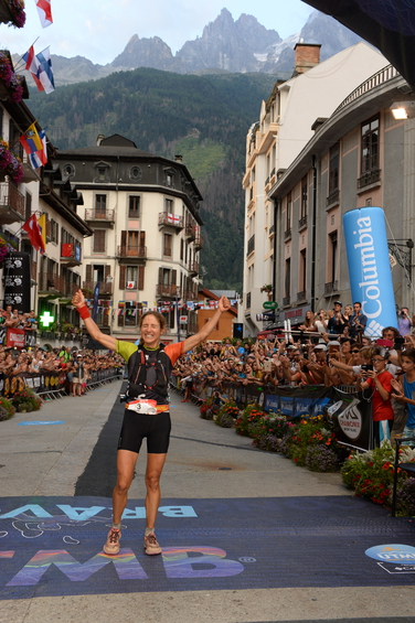 Caroline Chaverot celebrates victory at last year's UTMB (copyright:  Pascal Tournaire)