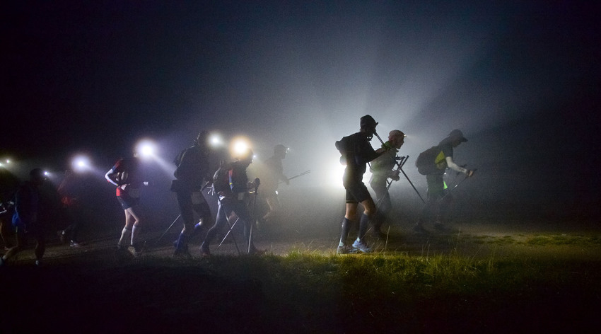 UTMB competitors in the depth of the night (photo: Pascal Tournaire)
