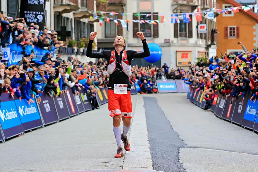 Francois D'Haene enjoys the moment of victory at Chamonix (photo: Franck Oddoux)