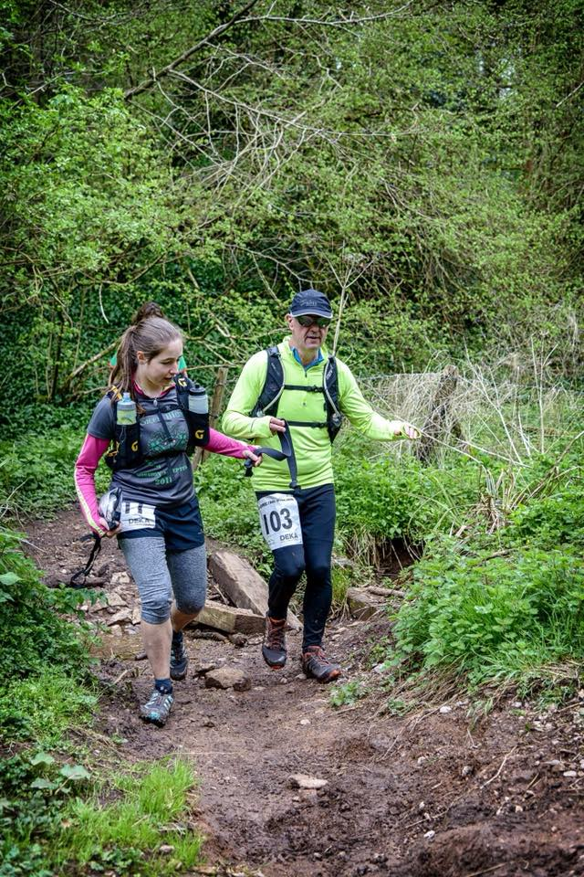 Steve Skidmore with guide Anna Covey at the Butcombe Ultra Trail