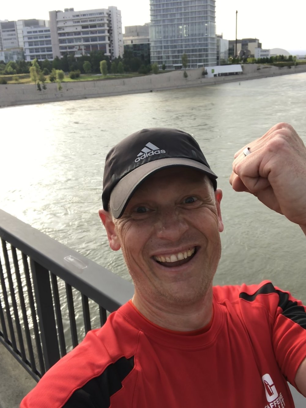 Paul Turner celebrates hitting the 1000 miles with a run taking in three countries