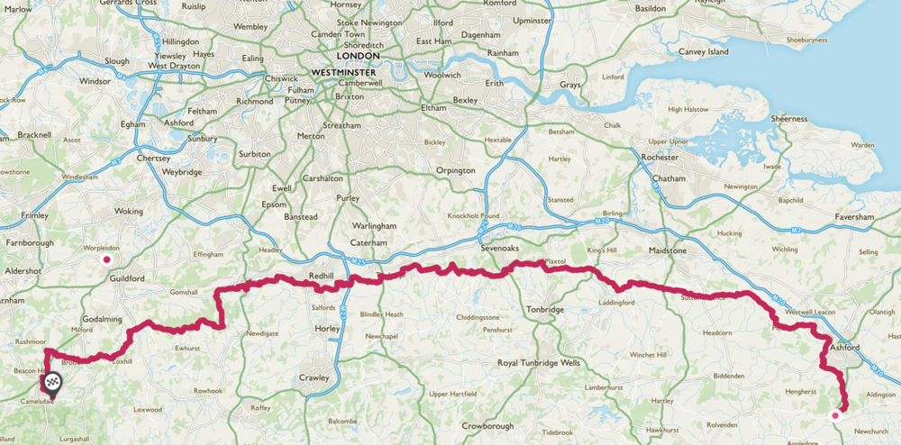 The route of the Greensand Way which Matt Buck and Ben Whitfield will aim to cover (credit: OS Maps)