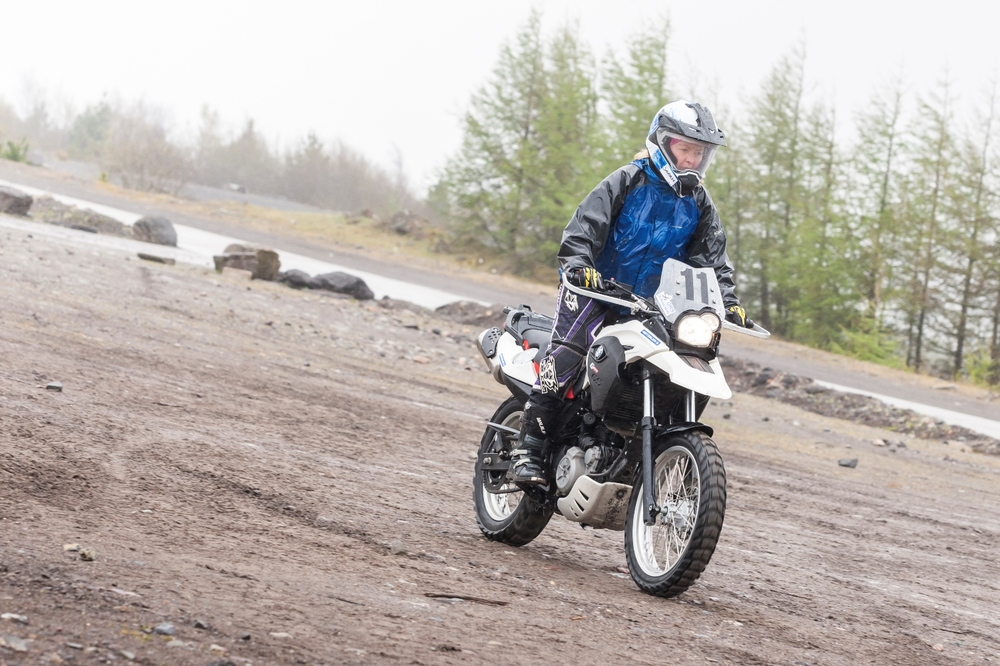 Learning to ride a motorcycle off-road at Walters Arena