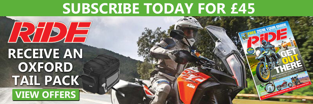Subscribe to RiDE and get an Oxford tail pack