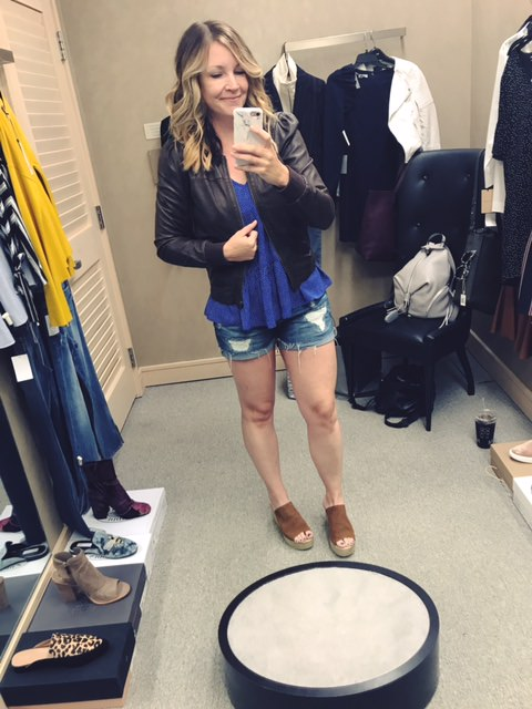 hinge leather bomber | blanknyc shorts | fab'rik slip on wedges | fab'rik peplum top | wearing a size small for reference