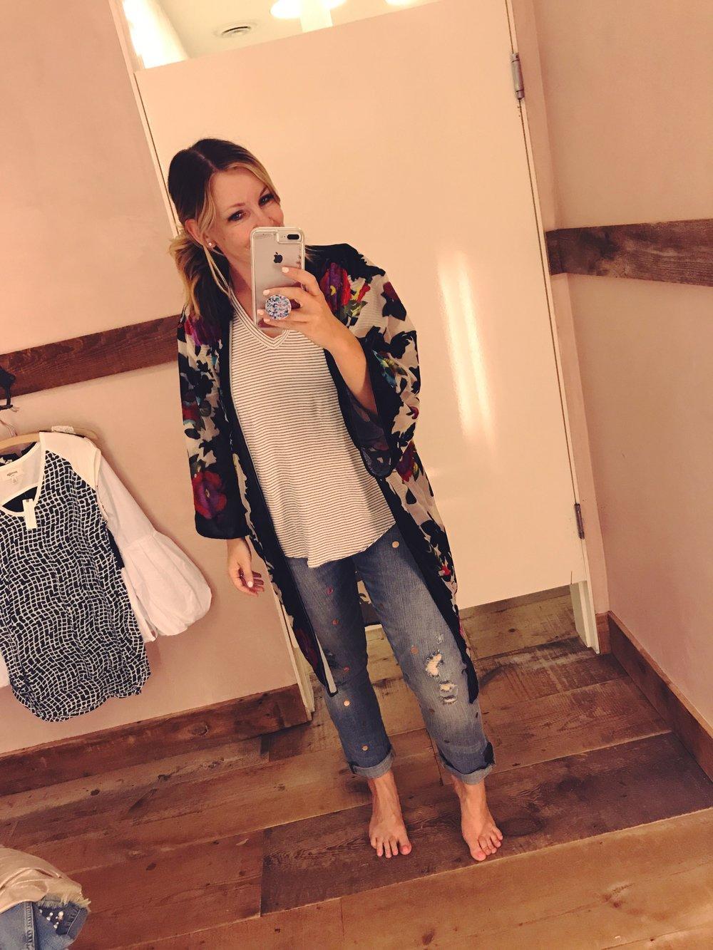 outfield v-neck tee   |   peyton kimono   |   polka dot boyfriend jeans