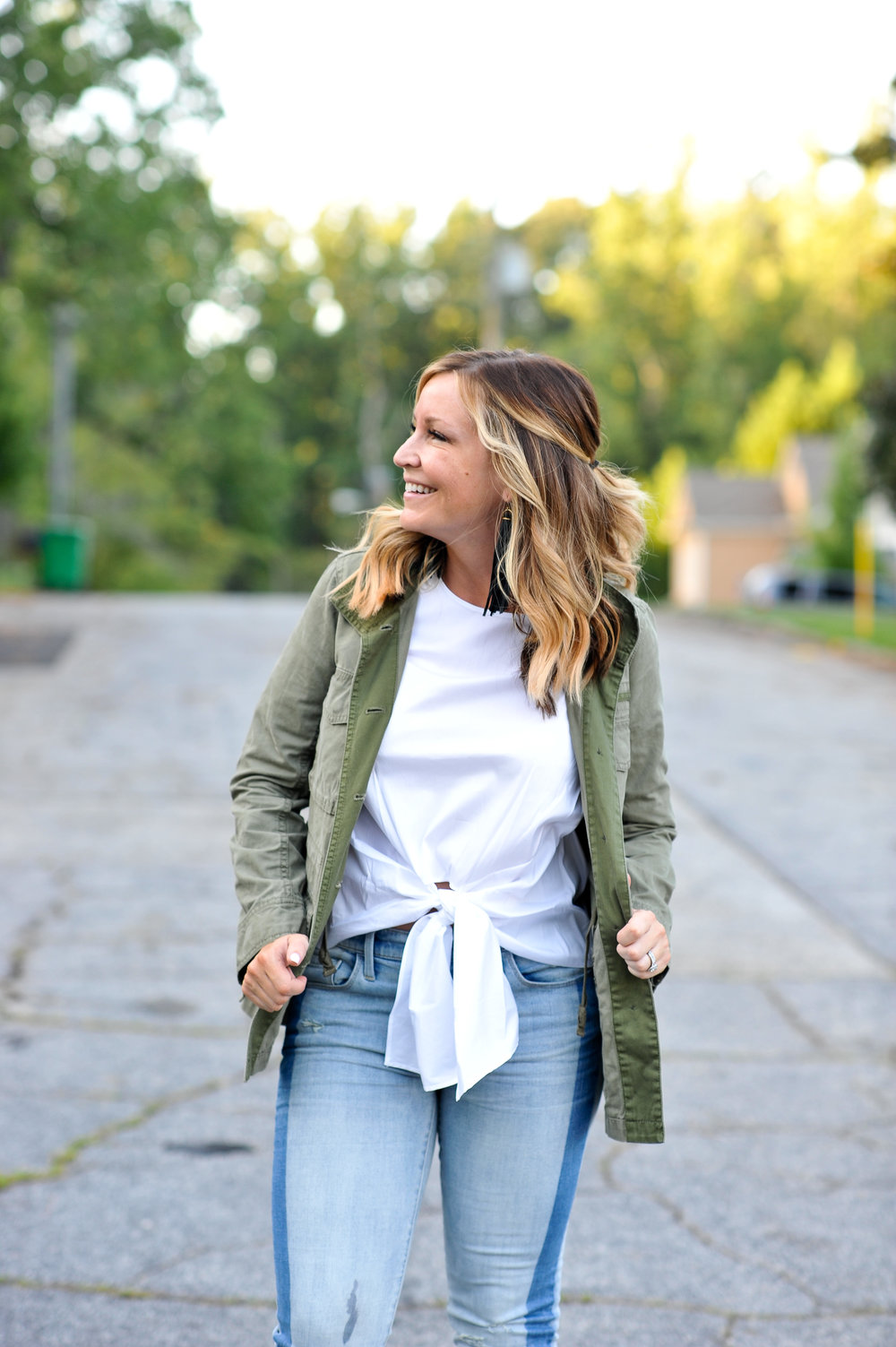 Everything I'm wearing in this picture is from Nordstrom.    This top is on sale   , and I've linked a    super similar jacket below   .