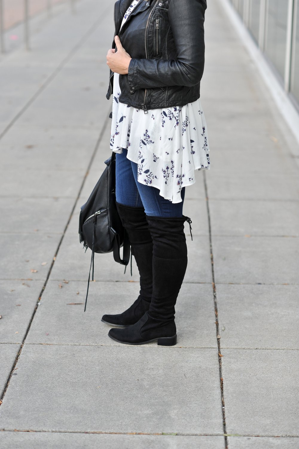 OTK Boots (similar here)  | Hudson Jeans | Free People Tunic | All Saints Leather Jacket | Rebecca Minkoff Backpack | Photos by JNelly Photography