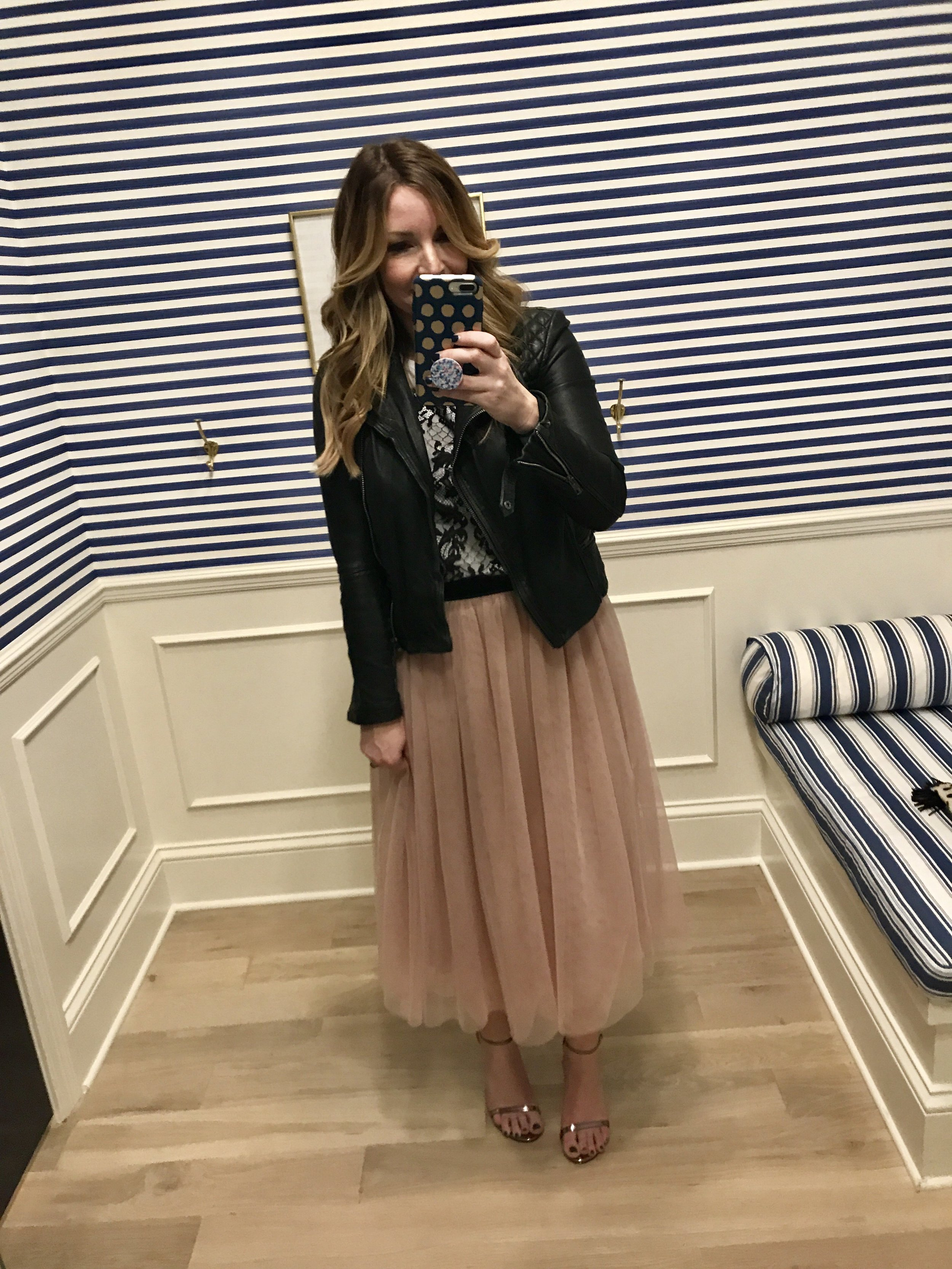 42ab68584 draper james lace tee | halogen tulle midi skirt | all saints jacket (25%  off with code FRIENDS) | stuart weitzman heels (to be totally honest, ...