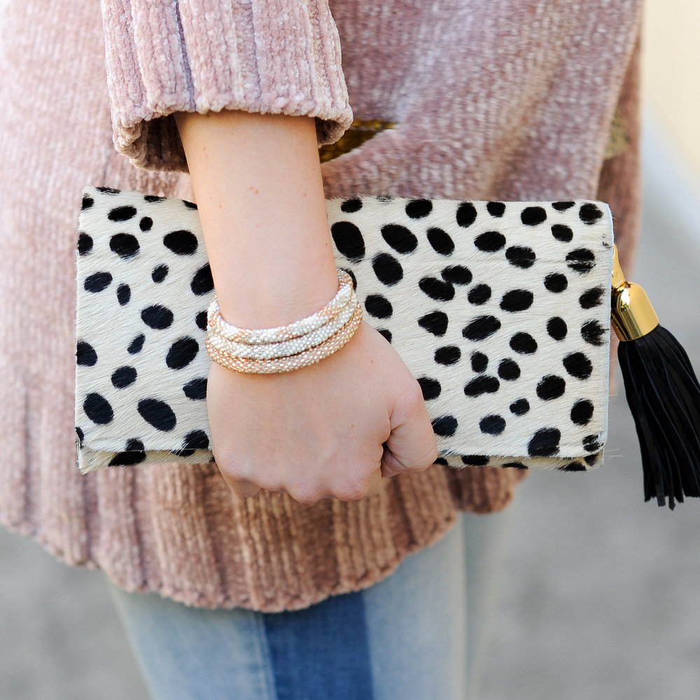 chenille cardigan    |    treasure & bond denim   , sold out |    Roll On bracelet set    | clutch,    similar      | photos by      jnelly photography