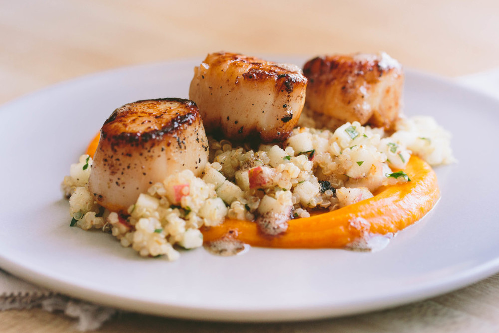 Seared Scallops with Quinoa and Apple Salad + Butternut Squash Puree // www.athoughtforfood.net