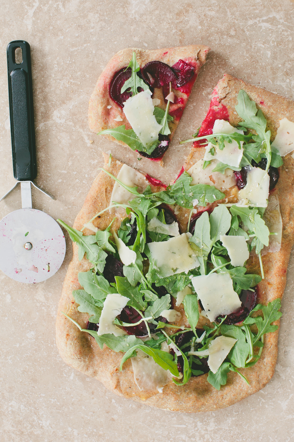 Whole Wheat Pizza with Beets, Arugula, and Pecorino