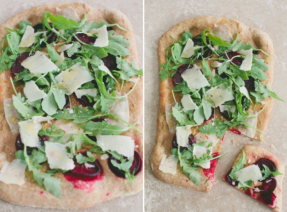 Whole Wheat Pizza with Beets, Arugula and Pecorino