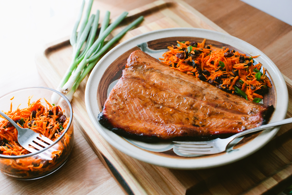 Honey Glazed Grilled Salmon and Carrot Slaw with Miso-Ginger Dressing
