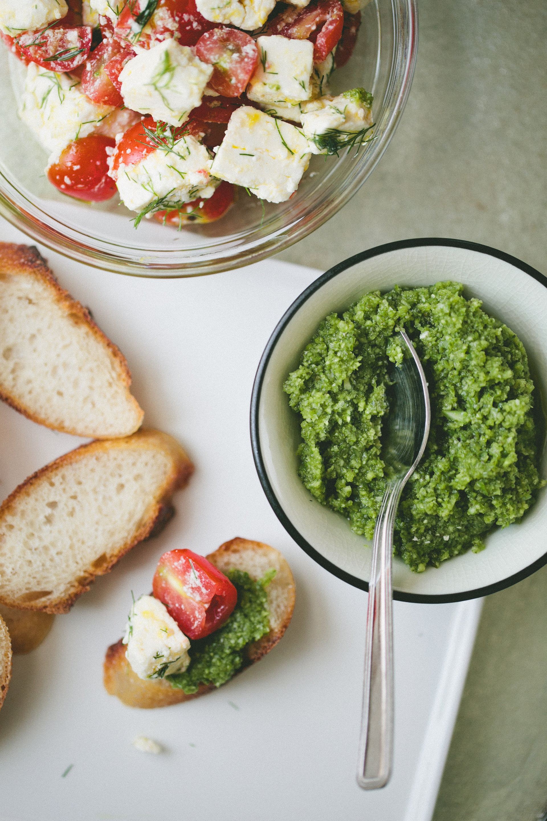 Marinated Feta + Garlic Scape Pesto