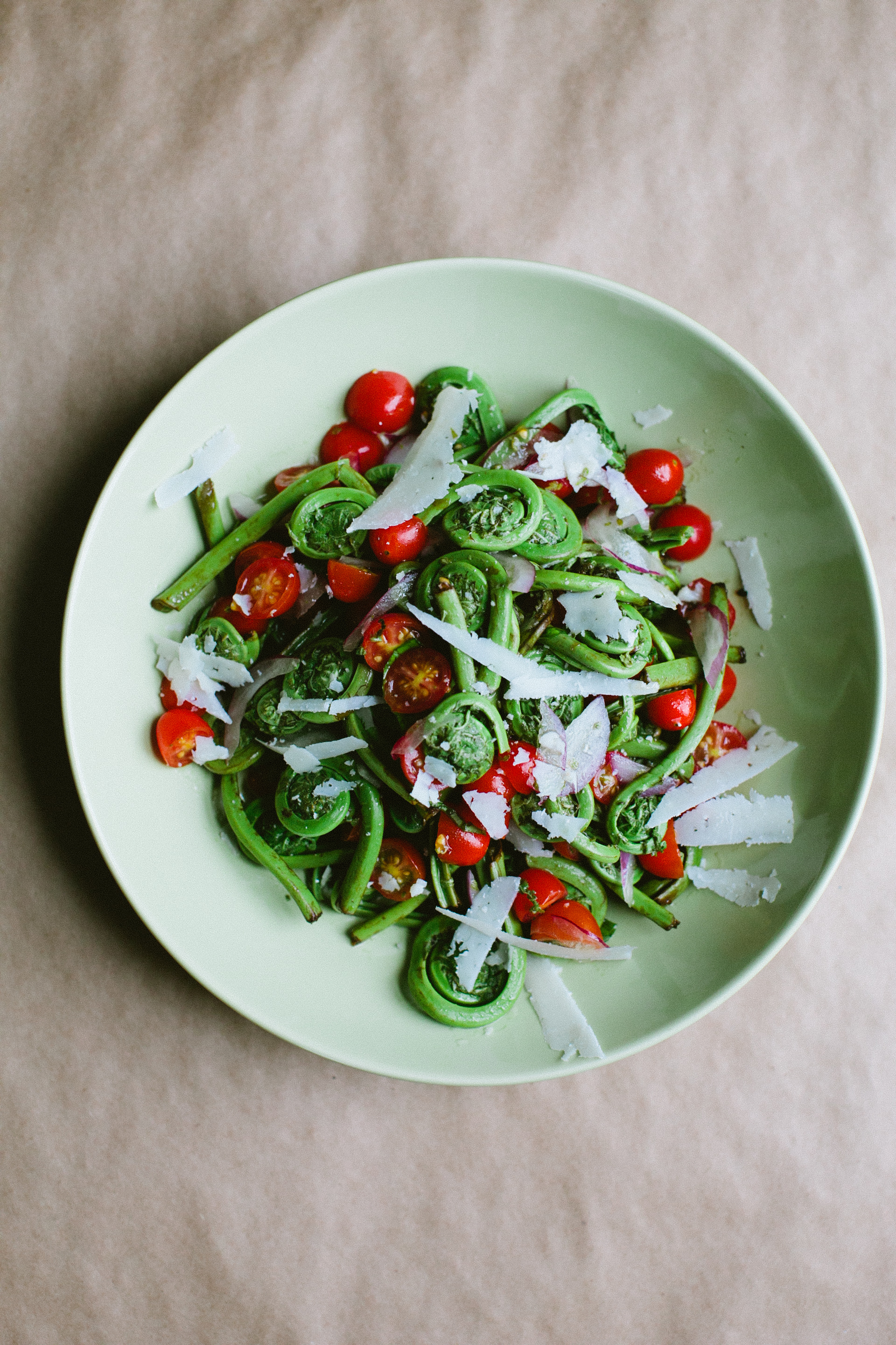 Fiddlehead and Tomato Salad with Pecorino
