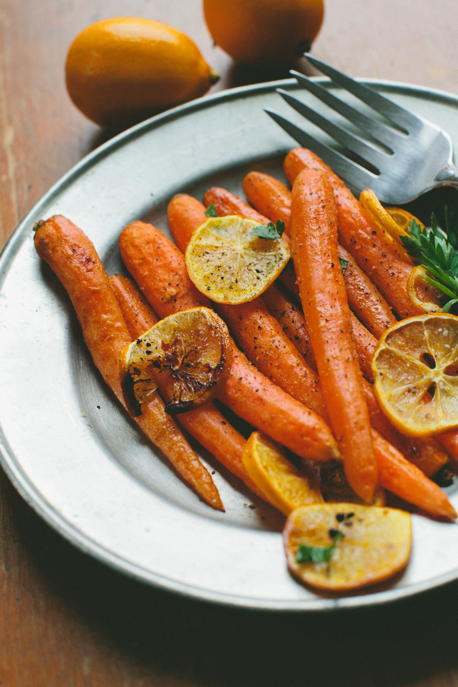 Cumin Roasted Carrots and Meyer Lemon