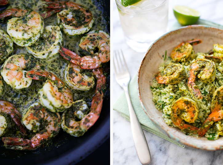 Chimichurri Shrimp with Lime Herb Rice (adapted from The Pioneer Woman) | A Thought For Food