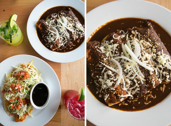 Fish Tacos and Vegetarian Mole - El Naranjo - Austin, TX