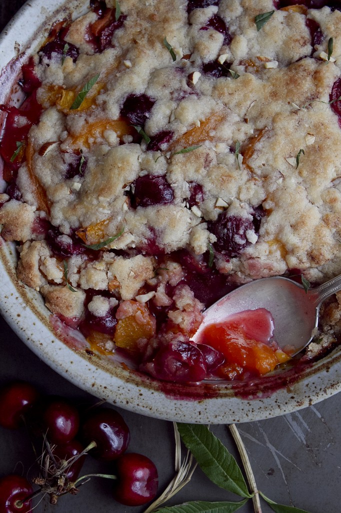 Apricot and Cherry Crumble