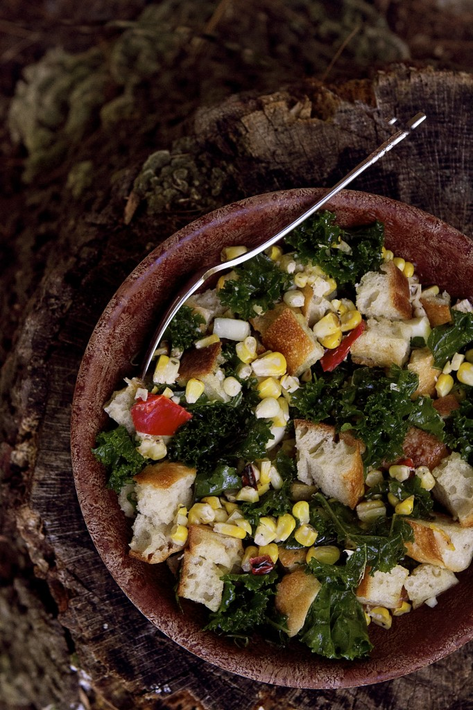 Corn and Kale Panzanella