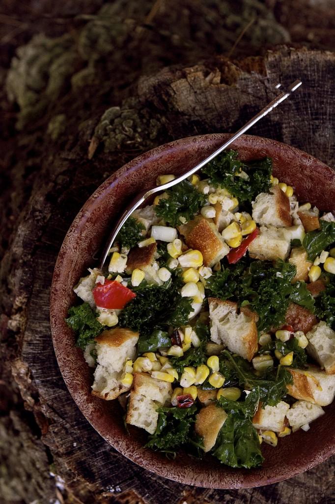 Corn and Kale Panzanella