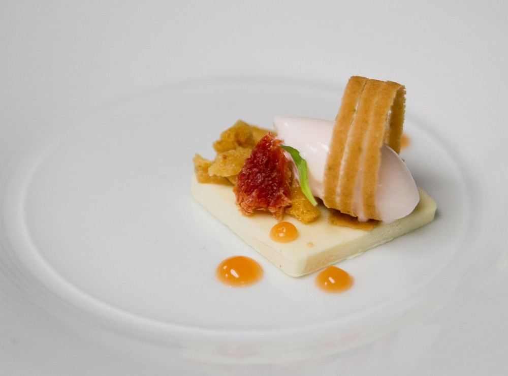 Juniper Crème Fraiche Panna Cotta + Grapefruit Rose Sorbet from Chef Monica Glass of Clio - A Thought For Food #Boston