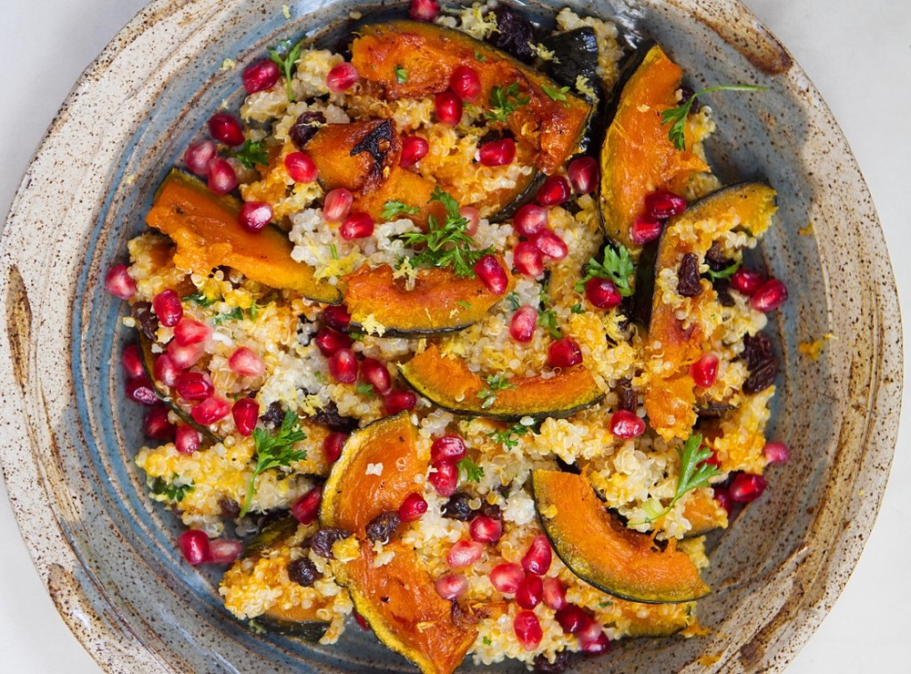 Quinoa with Acorn Squash and Pomegranate from A Thought For Food