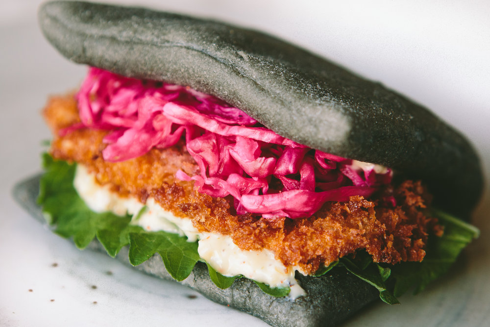 Squid Ink Oyster Bao from PAGU in Cambridge, MA - Photo by Brian Samuels of A Thought For Food