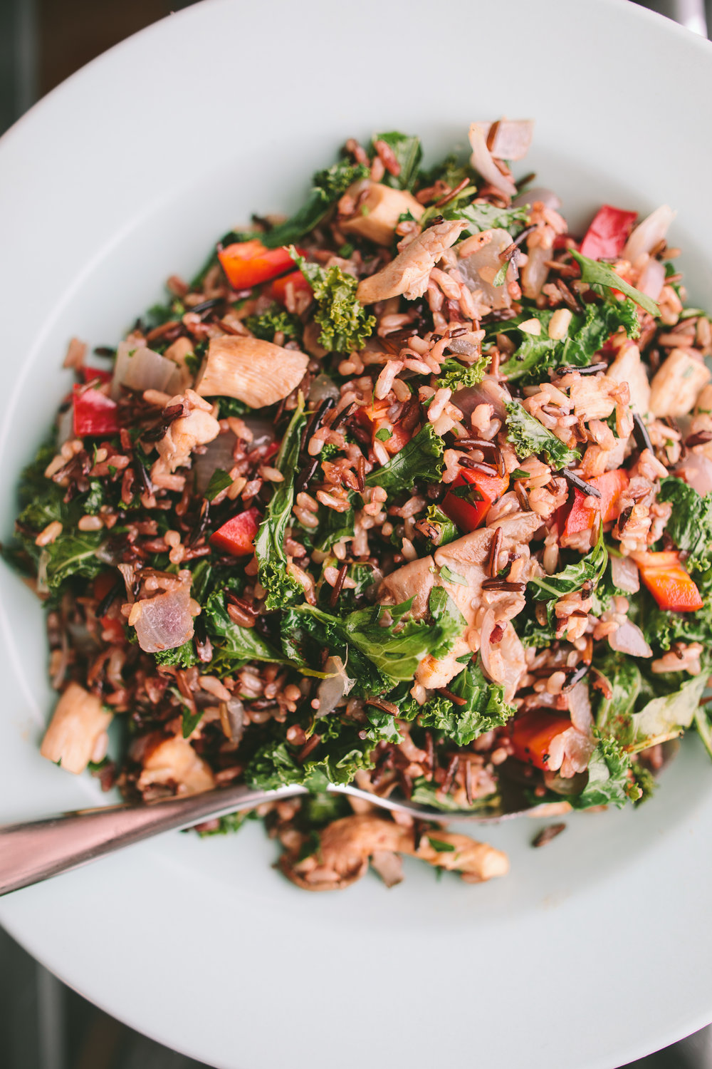 Wild Rice with Sautéed Kale and Oyster Mushrooms from www.athoughtforfood.net