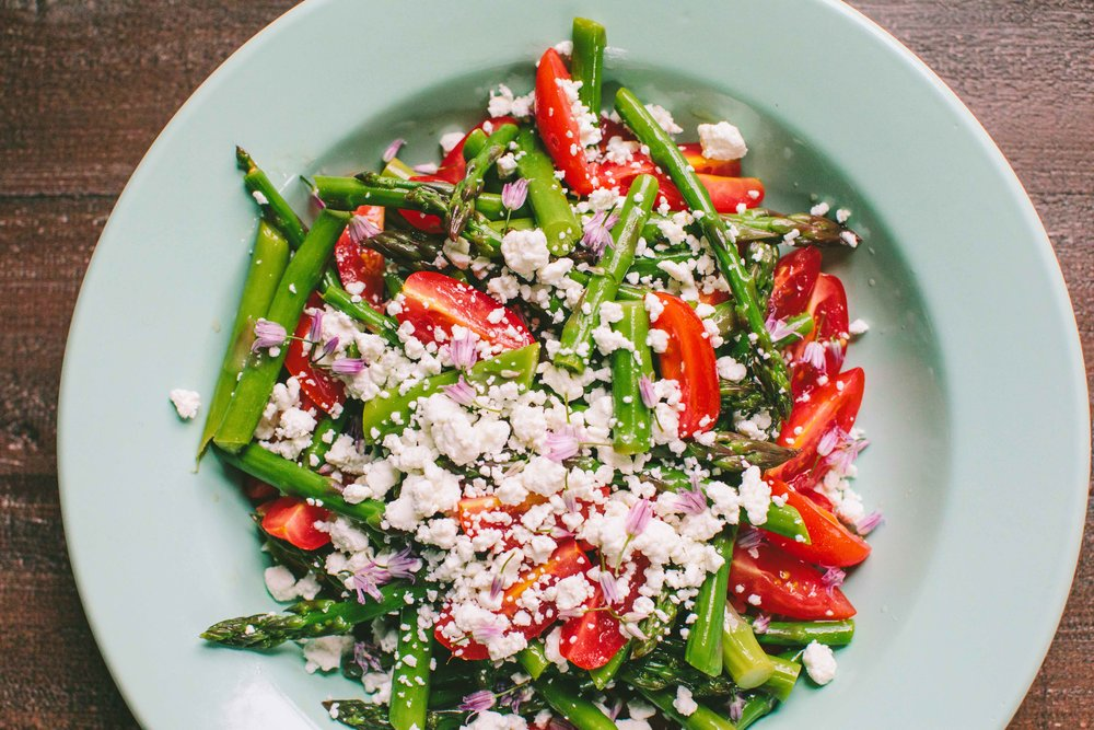 Asparagus, Tomato and Pickled Chive Blossom Salad - A Thought For Food