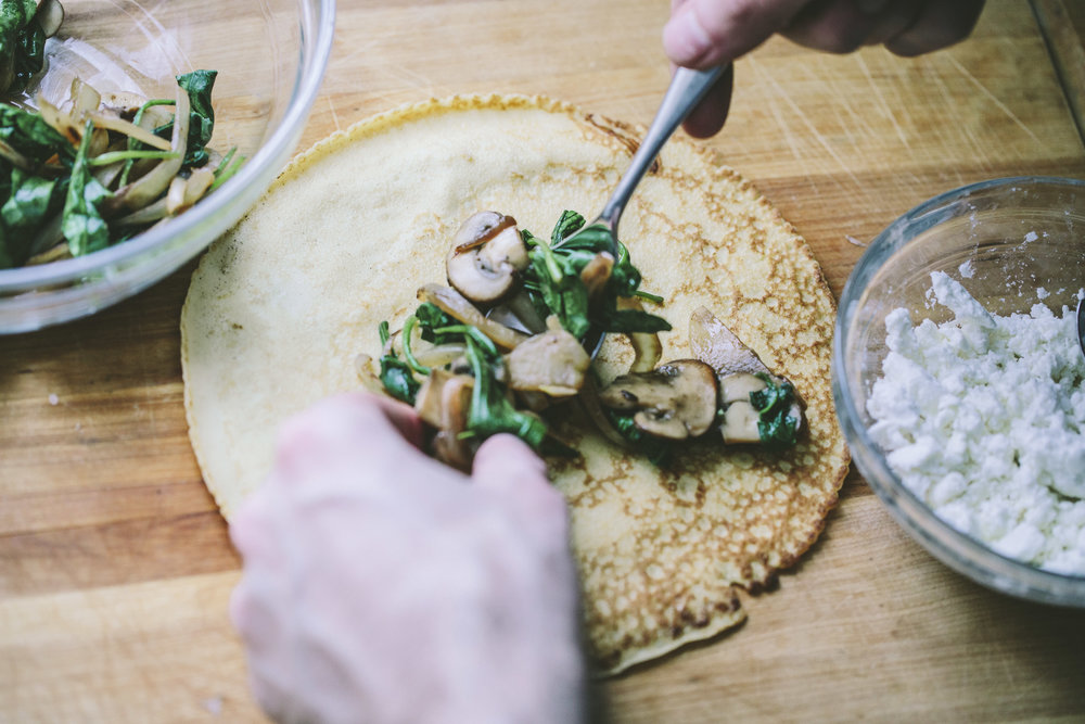 Spinach, Mushroom and Goat Cheese Crepes - A Thought For Food