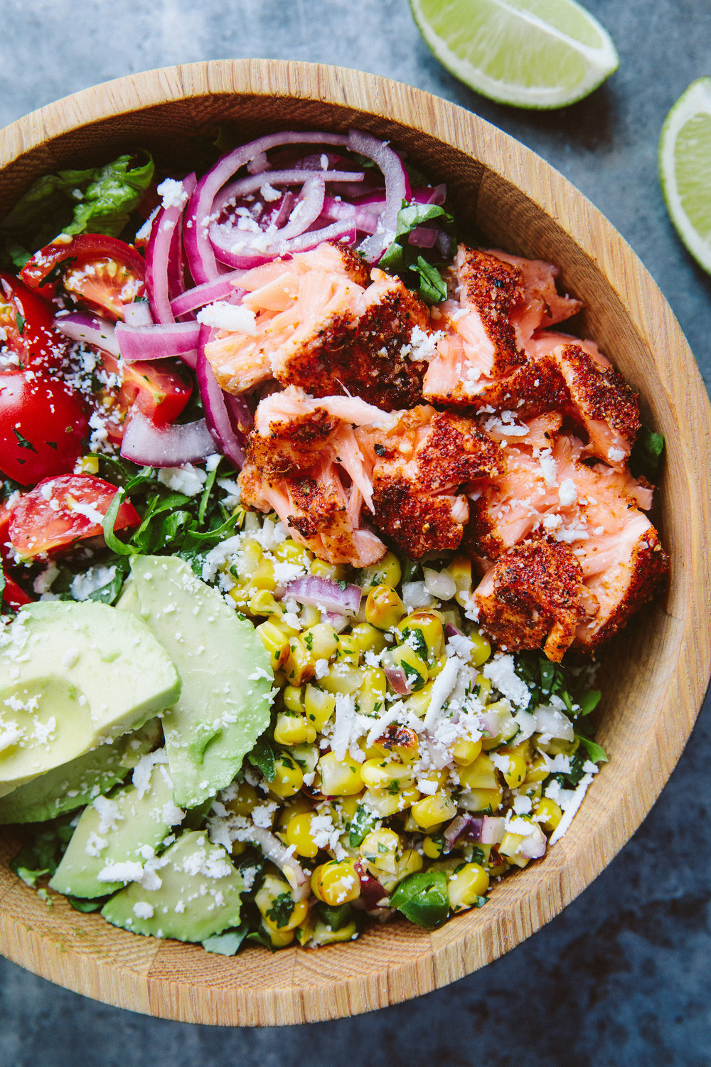 Roasted Salmon Burrito Bowl - A Thought For Food