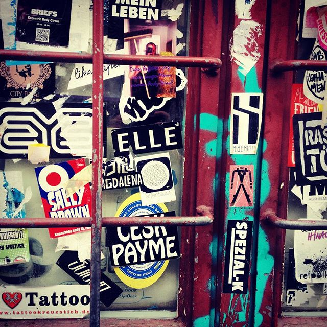 All about that #stickerbombing @ellestreetart @vnamagazine & more #slapstick #streetart #Berlin