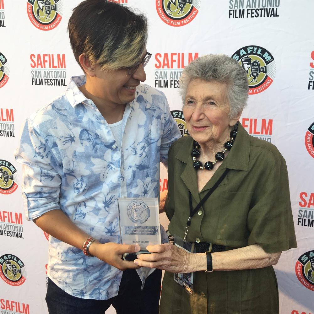 Executive Director Adam Rocha presents Marcia Nasatir with Lifetime Achievement Award