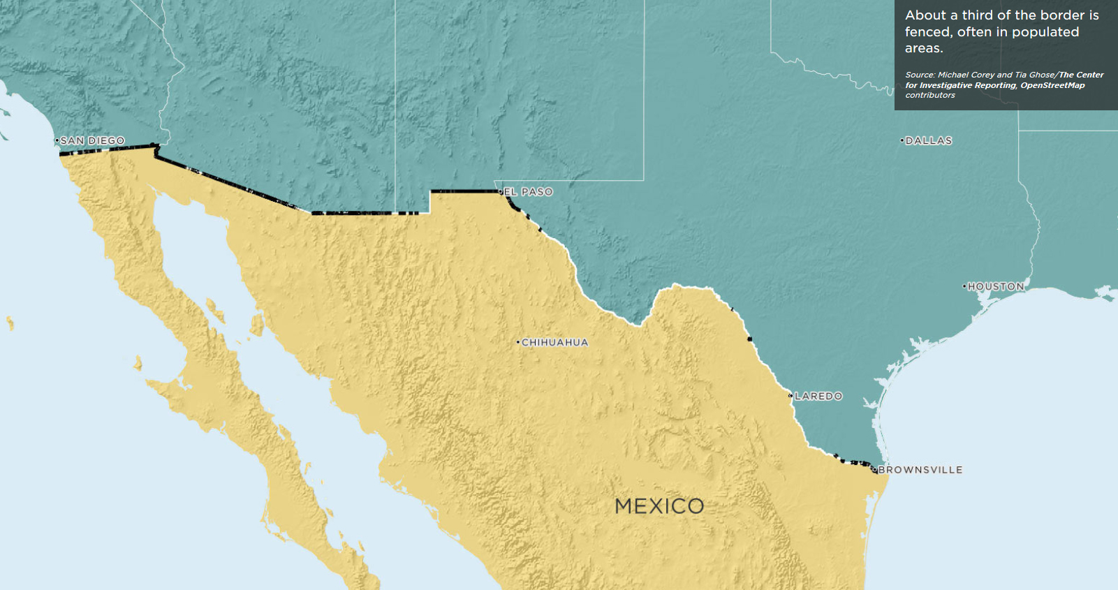 Image Gallery  Building The Border Wall  An International - Map of us border fence
